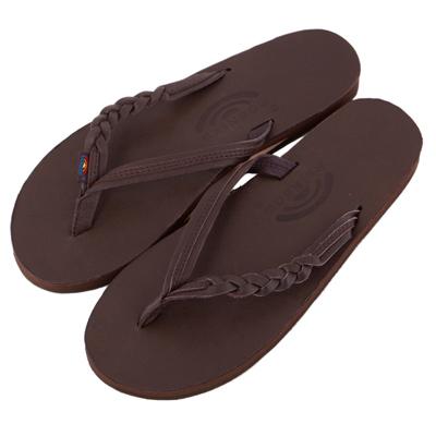 Rainbow Sandals美國人氣全真皮夾腳休閒拖鞋-深咖啡色
