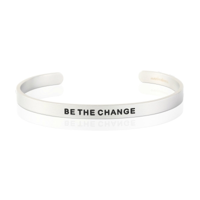 MANTRABAND 悄悄話手環 BE THE CHANGE 成為更好的自己 銀色寬版男款