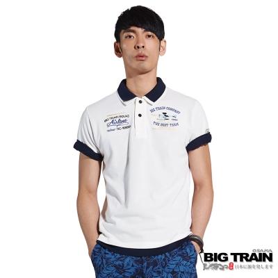 BIG TRAIN 飛行文字繡花POLO衫-男-白色