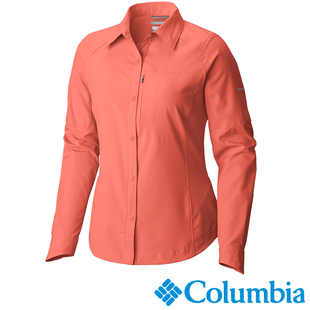 【Columbia哥倫比亞】女-快排防曬40長袖襯衫-橘紅 UAL70790AH