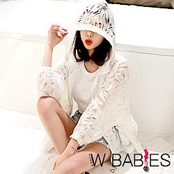正韓 薄透膚花紋飛鼠長袖連帽外套 (白色)-W BABIES