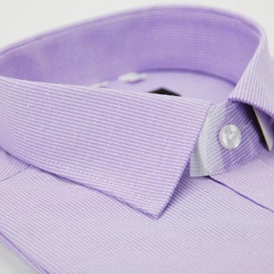 金‧安德森 紫色白條紋窄版短袖襯衫fast