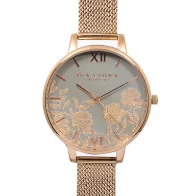 Olivia Burton 英倫復古手錶 蕾絲花卉細節錶面 玫瑰金米蘭金屬錶帶-38mm