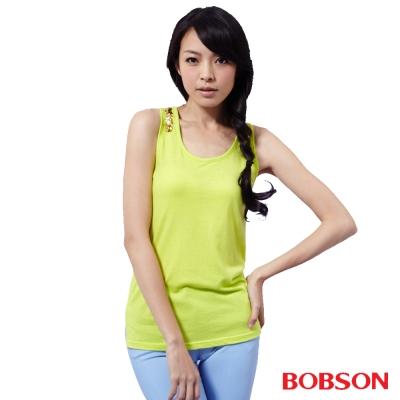 BOBSON  女款手縫亮片背心-黃色
