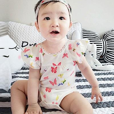 Baby unicorn 白底蝴蝶短袖連身衣