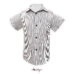 Annys舒適條紋皺皺布單邊口袋短袖襯衫*1383咖啡