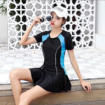 Biki比基尼妮泳衣  響想短袖泳衣二件式泳衣(M-2XL)