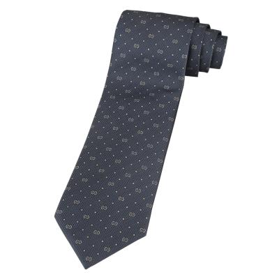 GUCCI 經典LOGO點點淺藍底領帶(白字)