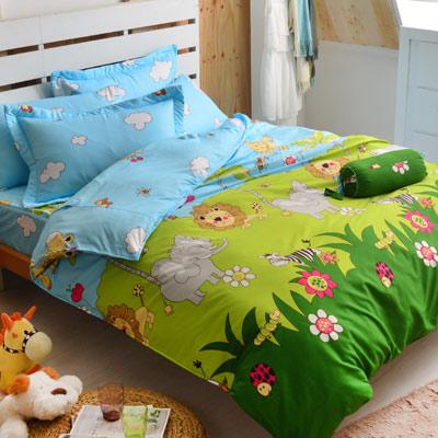Goelia 森林王國 加大 活性印染超細纖 全鋪棉床包兩用被四件組