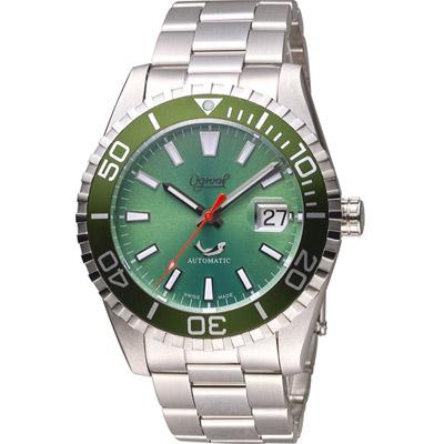 愛其華 Ogival 深海悍將潛水機械腕錶-綠/44mm