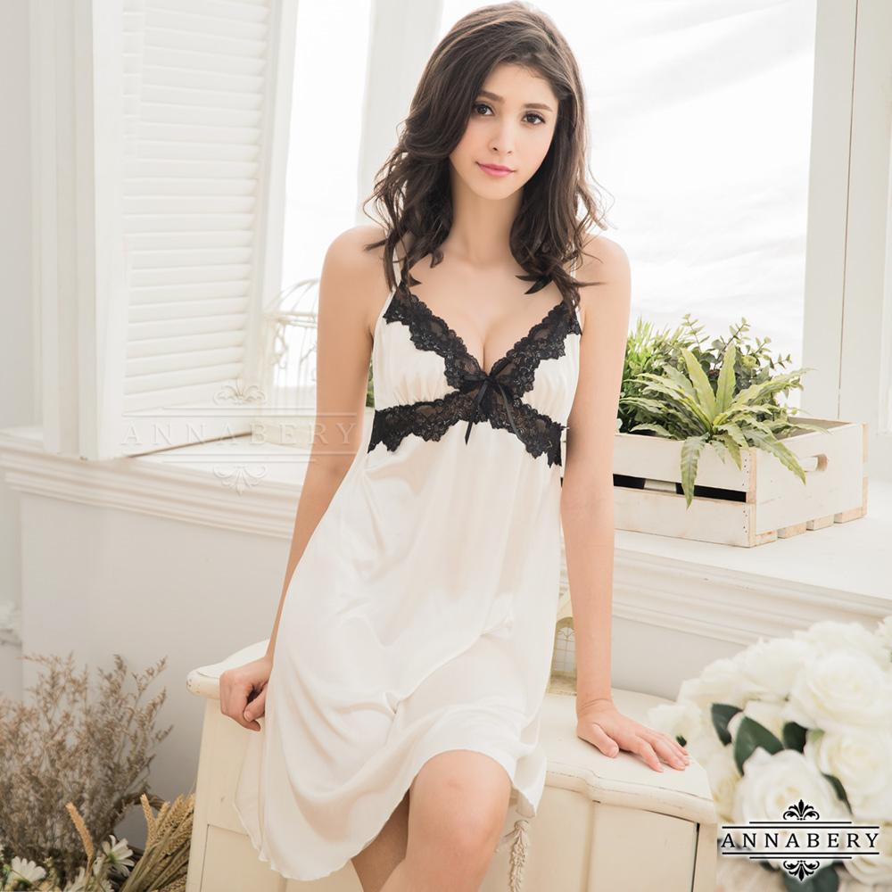 大尺碼Annabery優雅純白柔緞深V黑色蕾絲滾邊睡衣 白色 L-2L Annabery