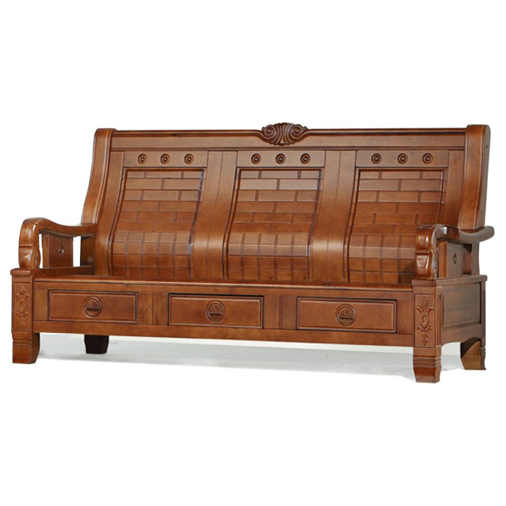 愛比家具 歌瑪實木三人椅(可收納)