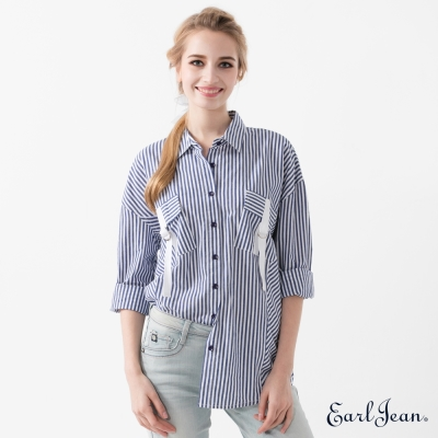 Earl Jean 寬版條紋襯衫-藍-女