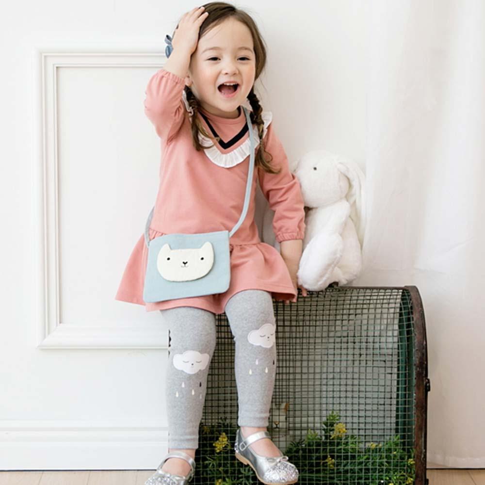 BEBEZOO 韓國 粉色蕾絲花邊V領長袖洋裝內搭褲套裝2件組