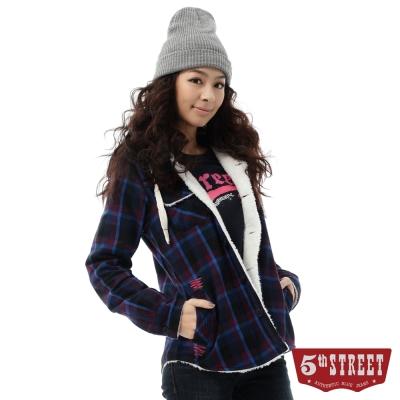5th STREET 格紋舖毛襯衫式外套-女-藍色