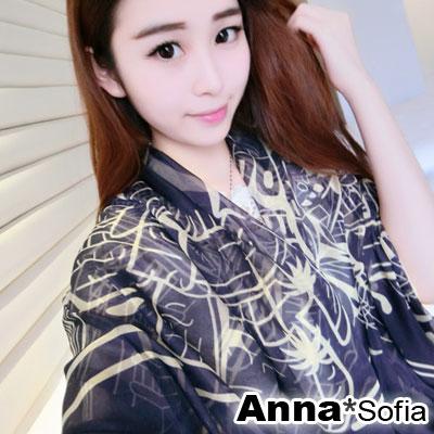 AnnaSofia-夏紋圖騰-雪紡大披肩絲巾圍巾