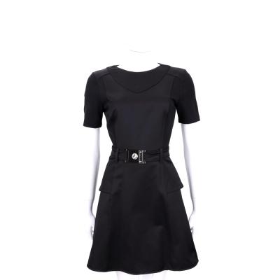 VERSACE 黑色拼接設計短袖洋裝(附腰帶)