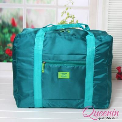 DF Queenin - 韓版折疊式大容量手提肩背旅行袋-湖水藍
