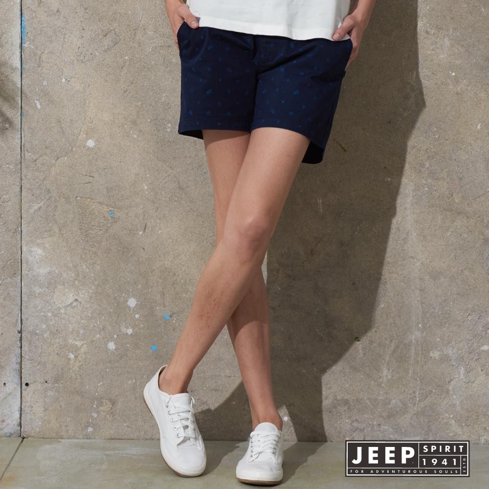 JEEP 女裝 活力女孩滿版海星造型休閒短褲 (深藍)