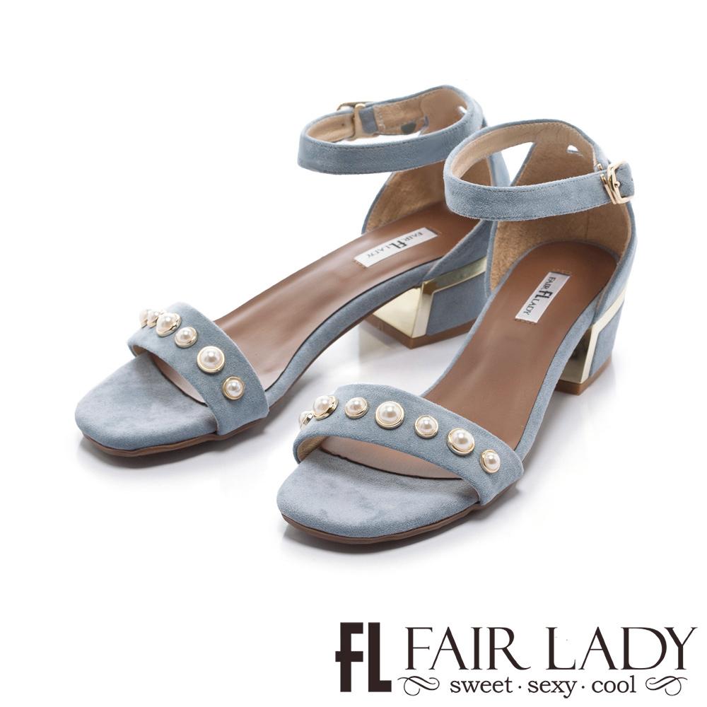 Fair Lady 珍珠裝飾一字低跟涼鞋 藍