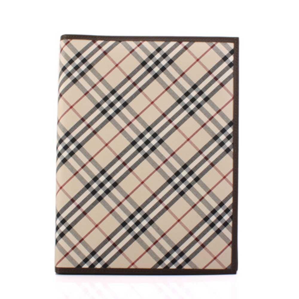 BURBERRY經典斜格紋內皮革雙摺記事本-咖啡色