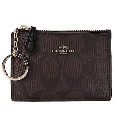 COACH LOGO緹花PVC鑰匙零錢夾(咖啡黑)