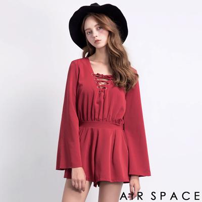 AIR-SPACE-性感綁帶寬袖連身短褲-深紅