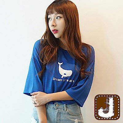 正韓 鯨魚圖印五分袖寬鬆棉T-(共四色)100%Korea Jeans