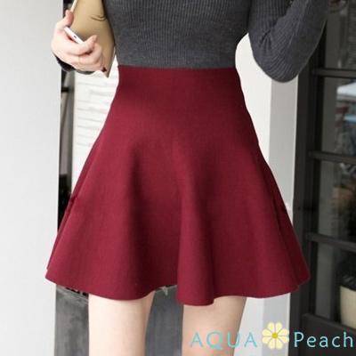 高腰素面荷葉裙擺短裙 (共三色)-AQUA Peach