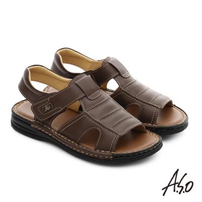 A.S.O 都會休閒 全真皮寬楦手縫氣墊涼拖鞋 咖啡色