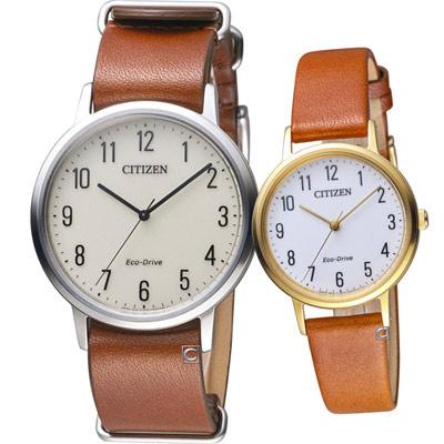 CITIZEN  經典品味時尚對錶( BJ6501-28A+EM0578-17A)