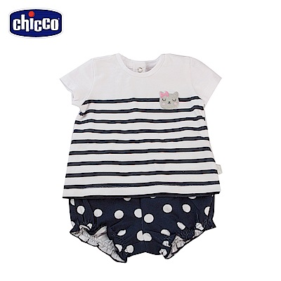 chicco-To Be Baby-條紋短袖上衣+圓點縮口短褲(12個月-4歲)