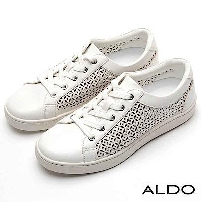 ALDO 原色鏤空幾何圖案鑲嵌璀璨水鑽休閒鞋~氣質白色