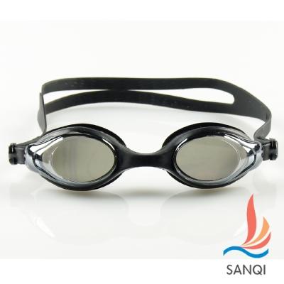 SANQI三奇 夏日必備抗UV防霧休閒泳鏡(4200-黑F)
