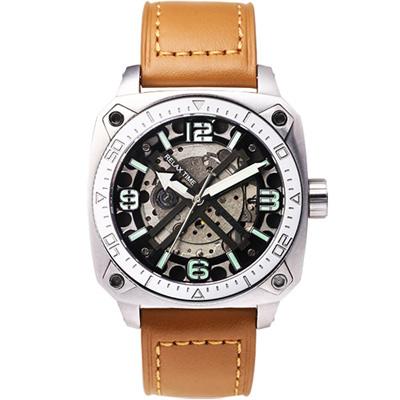 Relax Time RT39 X 鏤空機械限量腕錶-銀x咖啡/45mm