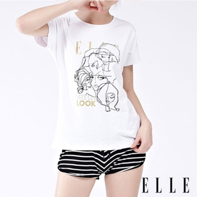 ELLE 條紋綁帶 短褲 Short黑 E35264-BK