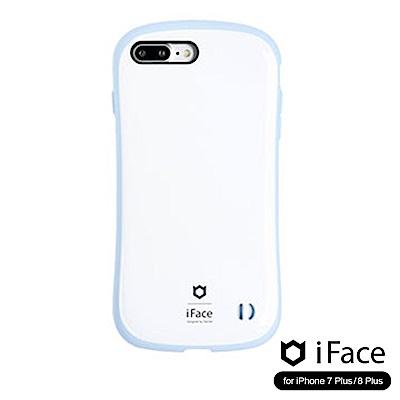 iFace iPhone8/8+ 雙素材吸震抗衝擊手機殼(馬卡龍)-白/藍