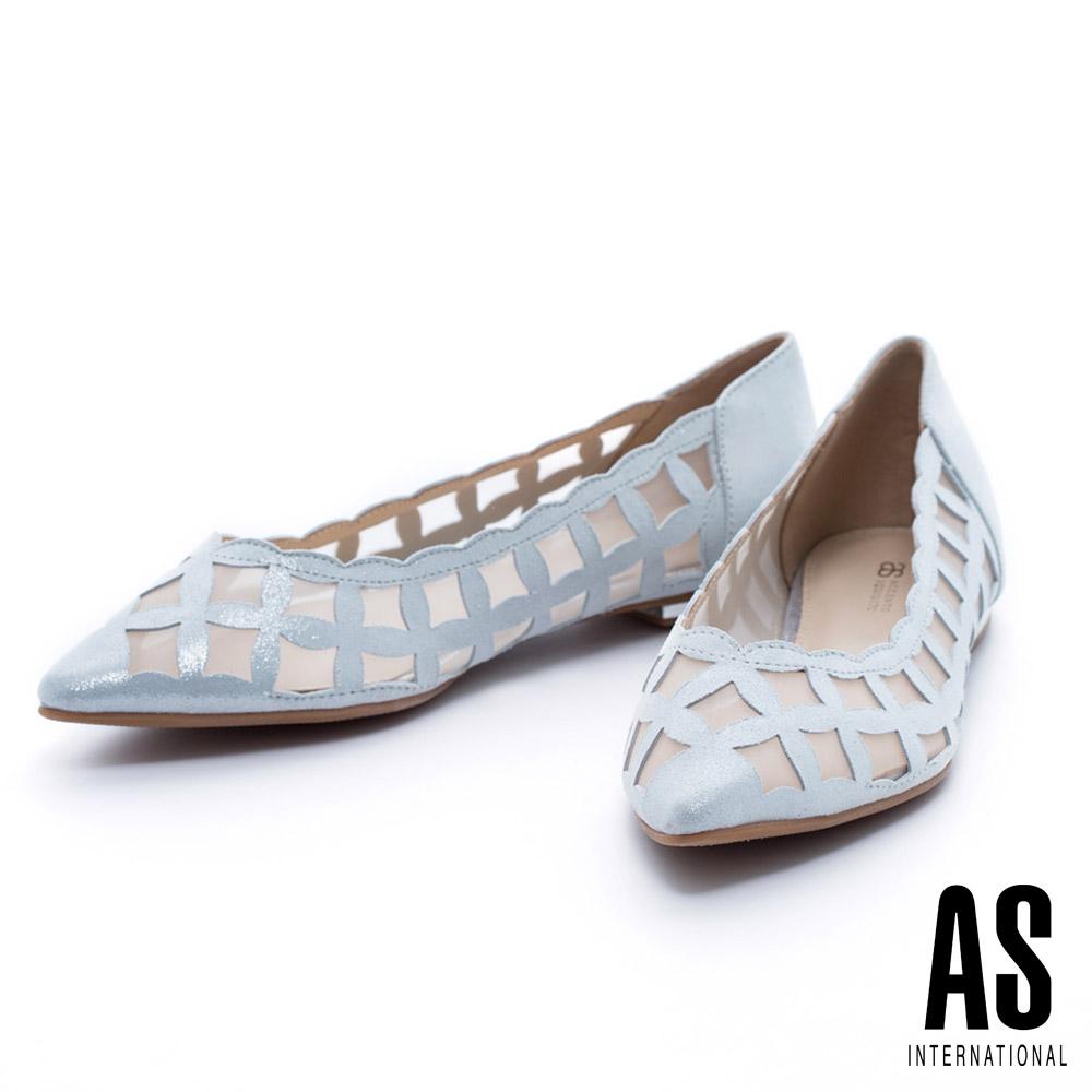 AS 輕盈鏤空造型羊麂皮尖頭平底鞋-銀