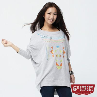 5th STREET 活力光采 螢光幾何繡花長袖T恤-女款(灰色)