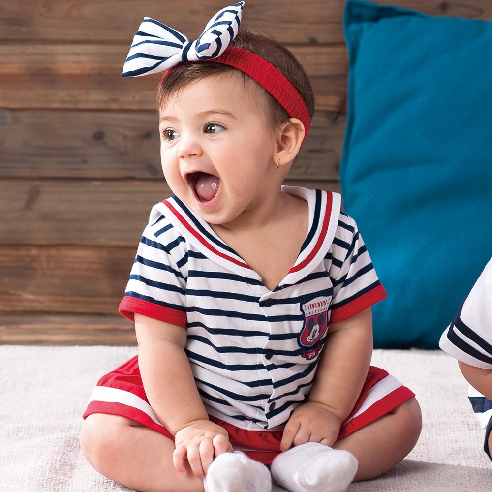 奇哥 米妮夏日水手連身洋裝-附髮帶(3-18個月)