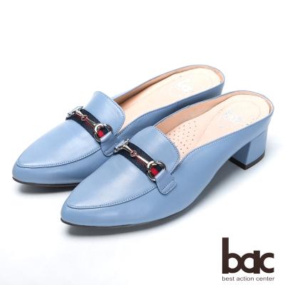bac流行時尚 經典造型後空跟鞋-藍紫色
