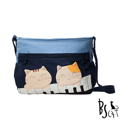 ABS貝斯貓 可愛貓咪拼布 肩背包 斜揹包 (藍) 88-213