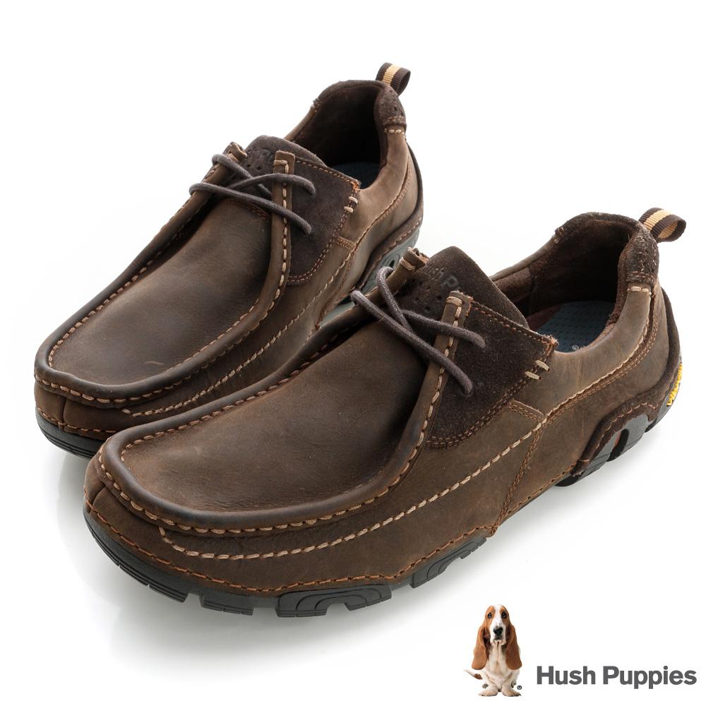 Hush Puppies 多功能黃金大底休閒鞋-深咖啡