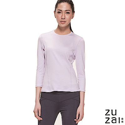 zuzai 自在輕感瞬乾 排汗七分袖上衣-女-淺紫色