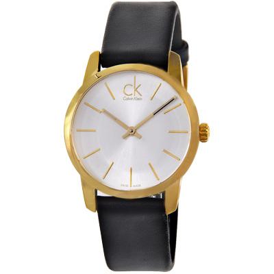 cK City 系列經典金色時光時尚腕錶-銀/ 31 mm