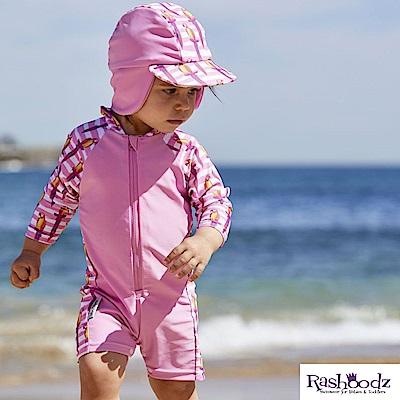澳洲 RASHOODZ 兒童抗UV防曬連身泳衣附遮陽帽 (Polly小鸚鵡)