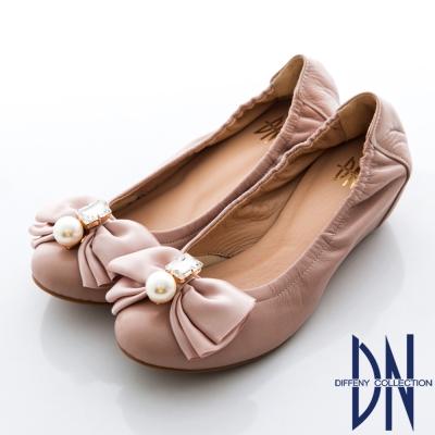DN-氣質名媛-MIT珠光羊皮蝴蝶結內增高包鞋-粉