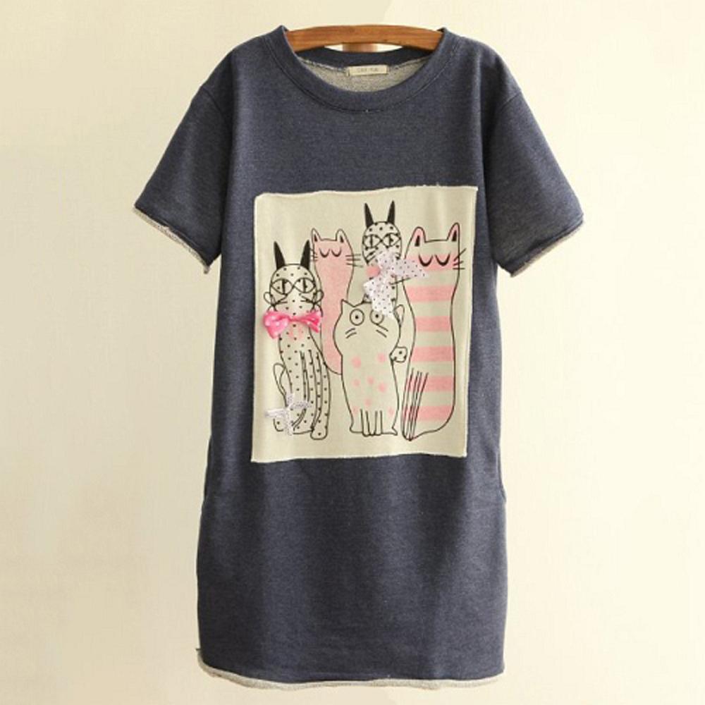 【LOVE20東京館】現貨 貓群印花立體蝴蝶結短袖T恤(共三色)