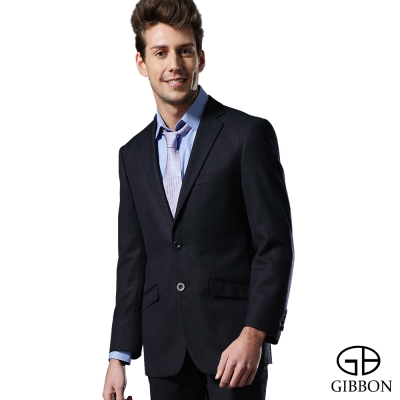 GIBBON 輕光澤星紋毛料西裝外套‧深藍46~52