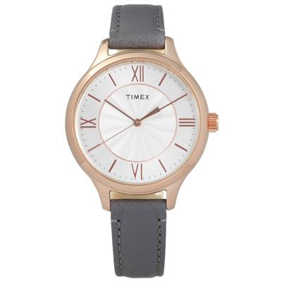 TIMEX 天美時 美國指標女伶真皮手錶-銀x玫瑰金框x灰/36mm